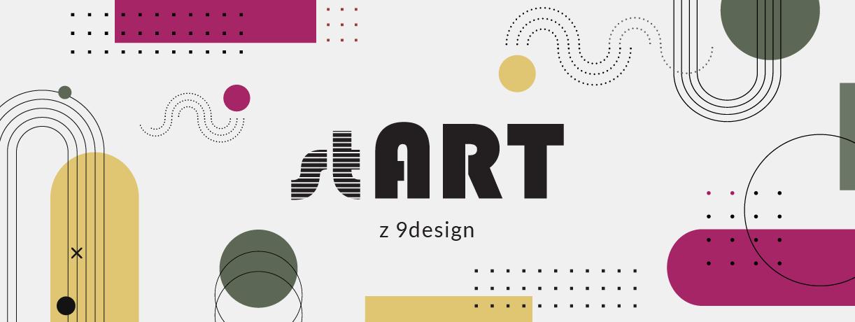 biały plakat programu stART z kolorowymi kształtami abstrakcyjnymi